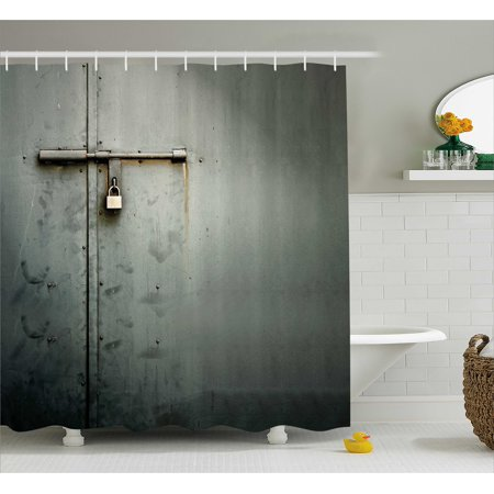 Grey Shower Curtain Close Up Photo Of Abandoned Warehouse Home Store Door With A Hanging