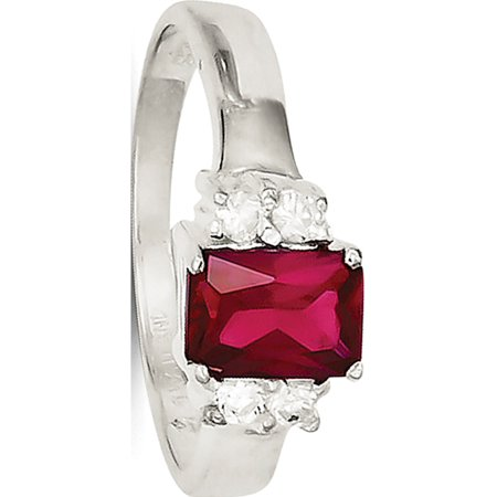 Sterling Silver Red & White CZ Ring - image 2 of 2