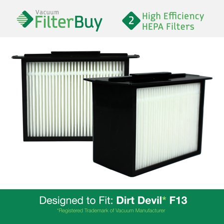 2 - Dirt Devil F-13 (F13) HEPA Replacement Filters, Part # 3LK0540001.  Designed by FilterBuy to fit Dirt Devil Reaction Dual Cyclonic, Reaction All-Surface, Reaction Fresh and Action Vacuum Cleaners