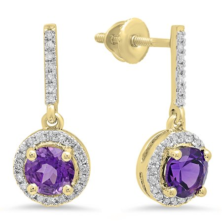 1.10 Carat (ctw) 10K Yellow Gold Round Cut Amethyst & White Diamond Ladies Halo Style Dangling Drop Earrings 1 1/10
