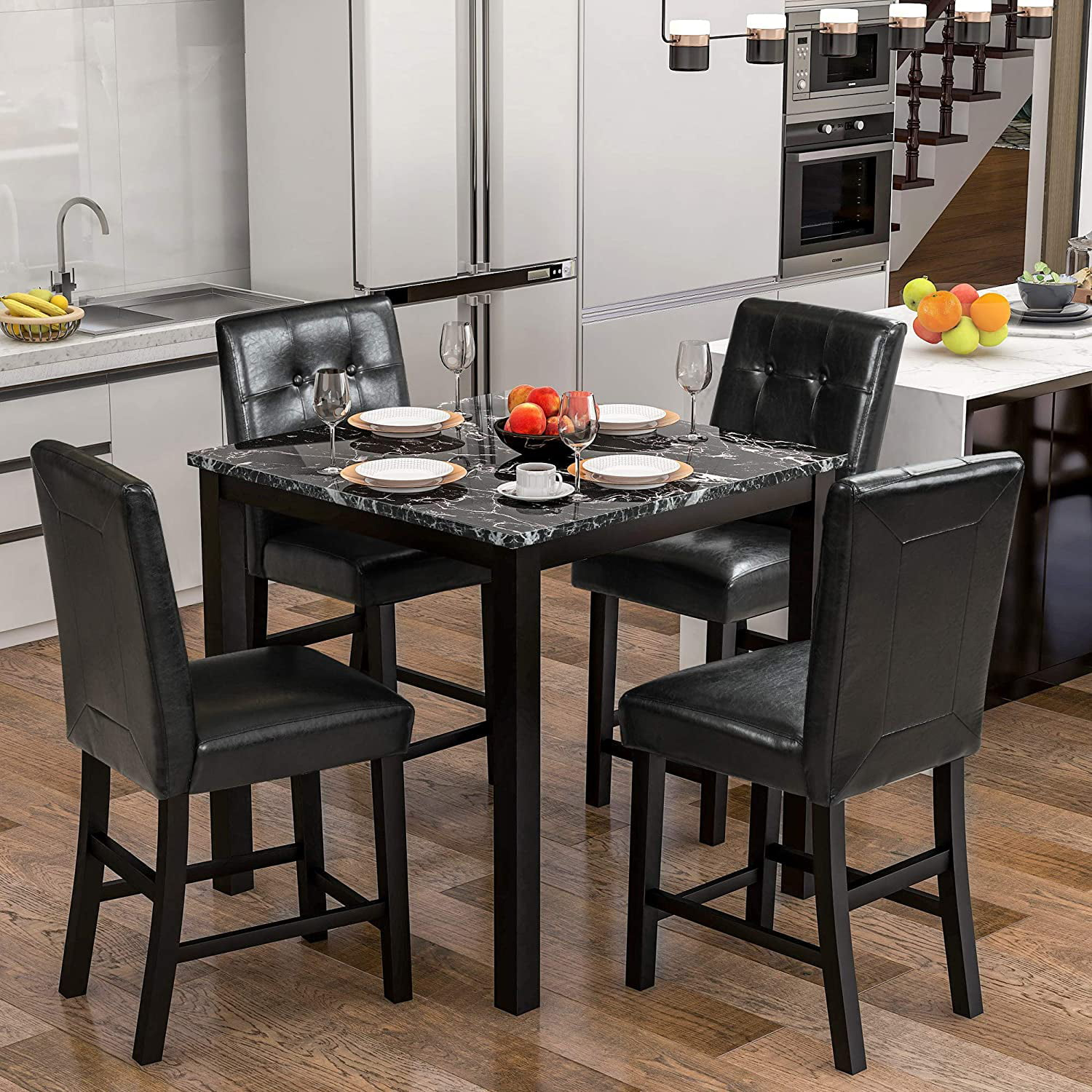 Dining Sets for 9, 9 Pieces Kitchen Table Set with Laminated Faux Marble  Top Counter Height Dining Table Set with 9 Chairs   Walmart.com