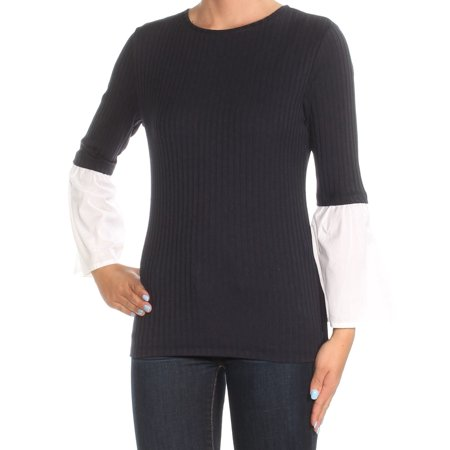 TOMMY HILFIGER Womens Navy Bell Sleeve Jewel Neck Top Size XS