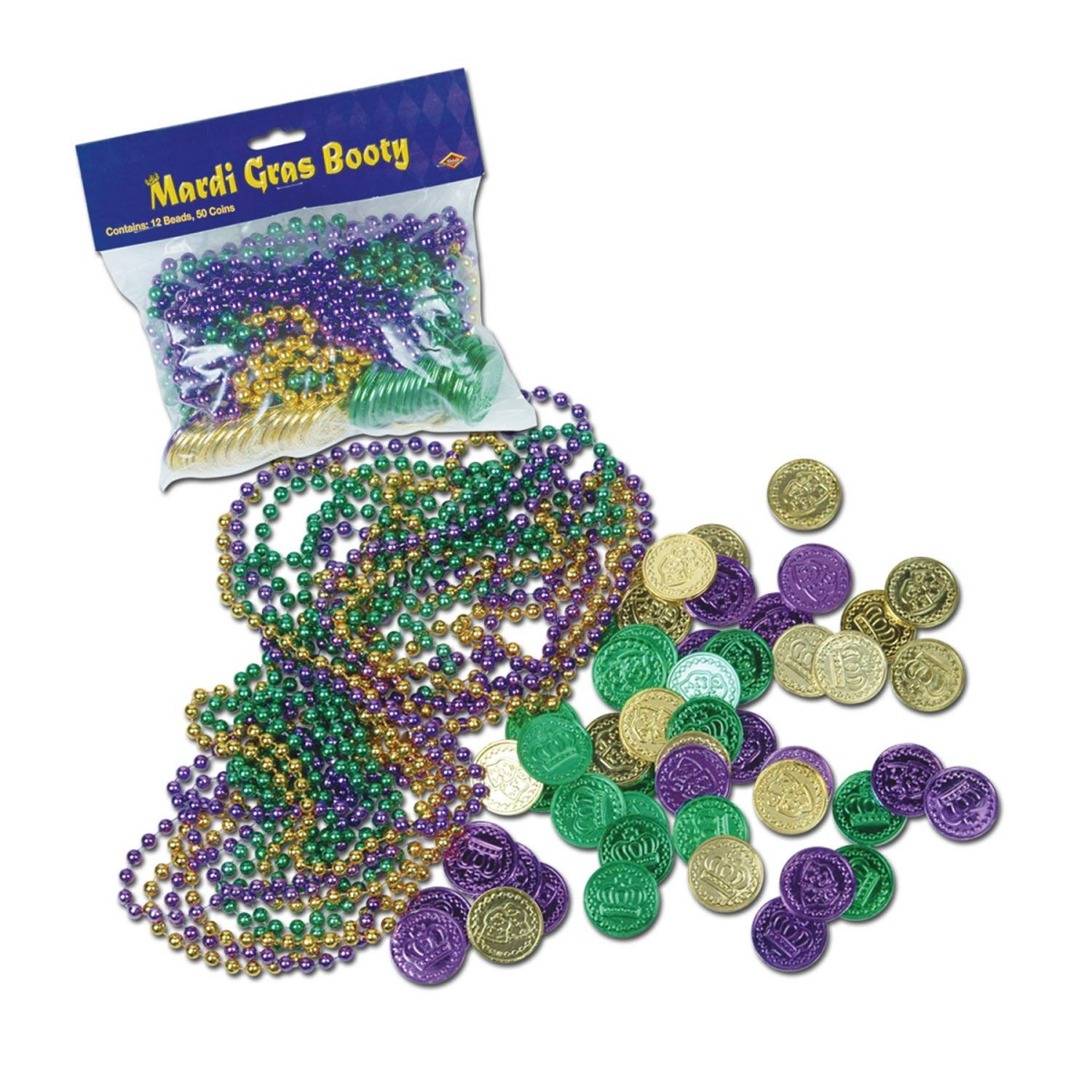 Club Pack of 744 Metallic Mardi Gras Bead Necklace and Coin Treasure Loot