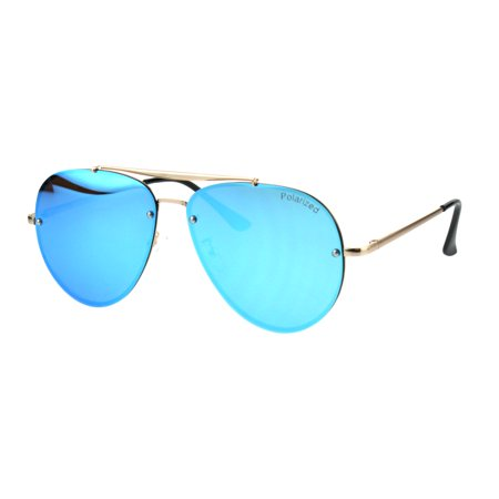 10cd21f9348a SA106 - Mens Polarized Lens Rimless Luxury Pilots Metal Rim Sunglasses Gold Blue  Mirror - Walmart.com