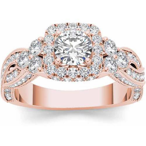 Imperial 1-1 2 Carat T.W. Diamond Criss-Cross Shank Single Halo 14kt Rose Gold Engagement Ring by Imperial Jewels