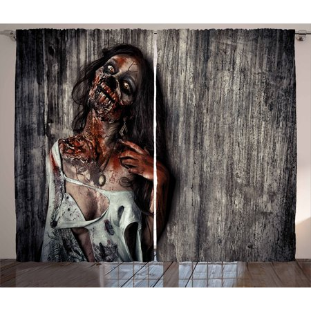 Interior Design For Halloween (Zombie Curtains 2 Panels Set, Angry Dead Woman Sacrifice Fantasy Design Mystic Night Halloween Image, Window Drapes for Living Room Bedroom, 108W X 96L Inches, Dark Taupe Peach Red, by)