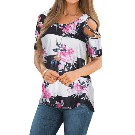 89426a486faa3 Vista - Womens Floral Blouse Loose Strappy Cold Shoulder Tops Casual T  Shirts - Walmart.com