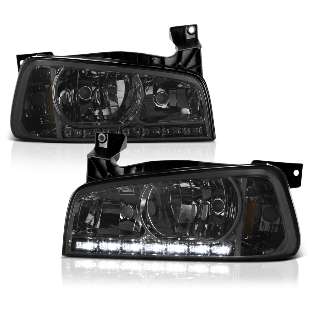 VIPMOTOZ 1-Piece Smoke Lens LED DRL Headlight Headlamp For 2006-2010 Dodge Charger