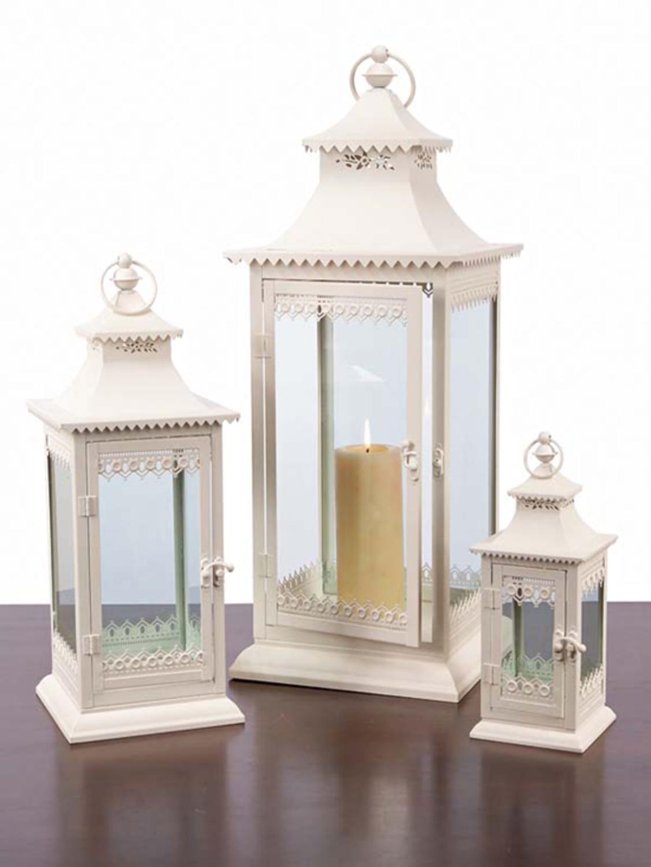 Set of 3 cream lantern decorative cottage style pillar candle holders