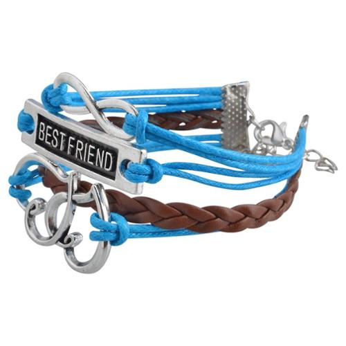 Zodaca Fashion Leather Cute Infinity Charm Bracelet Jewelry Silver lots Blue/Brown Best Friend