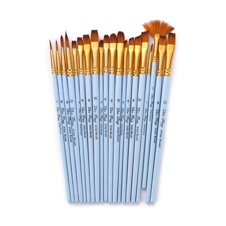 20pcs Draw Paint Brushes Set Kit Artist Paintbrush Multiple Mediums Brushes with Nylon Hair for Artist Acrylic Aquarelle Watercolor Gouache Oil Face Painting for Great Art Drawing Supplies for (Amazing Painter Paints A Face Upside Down)