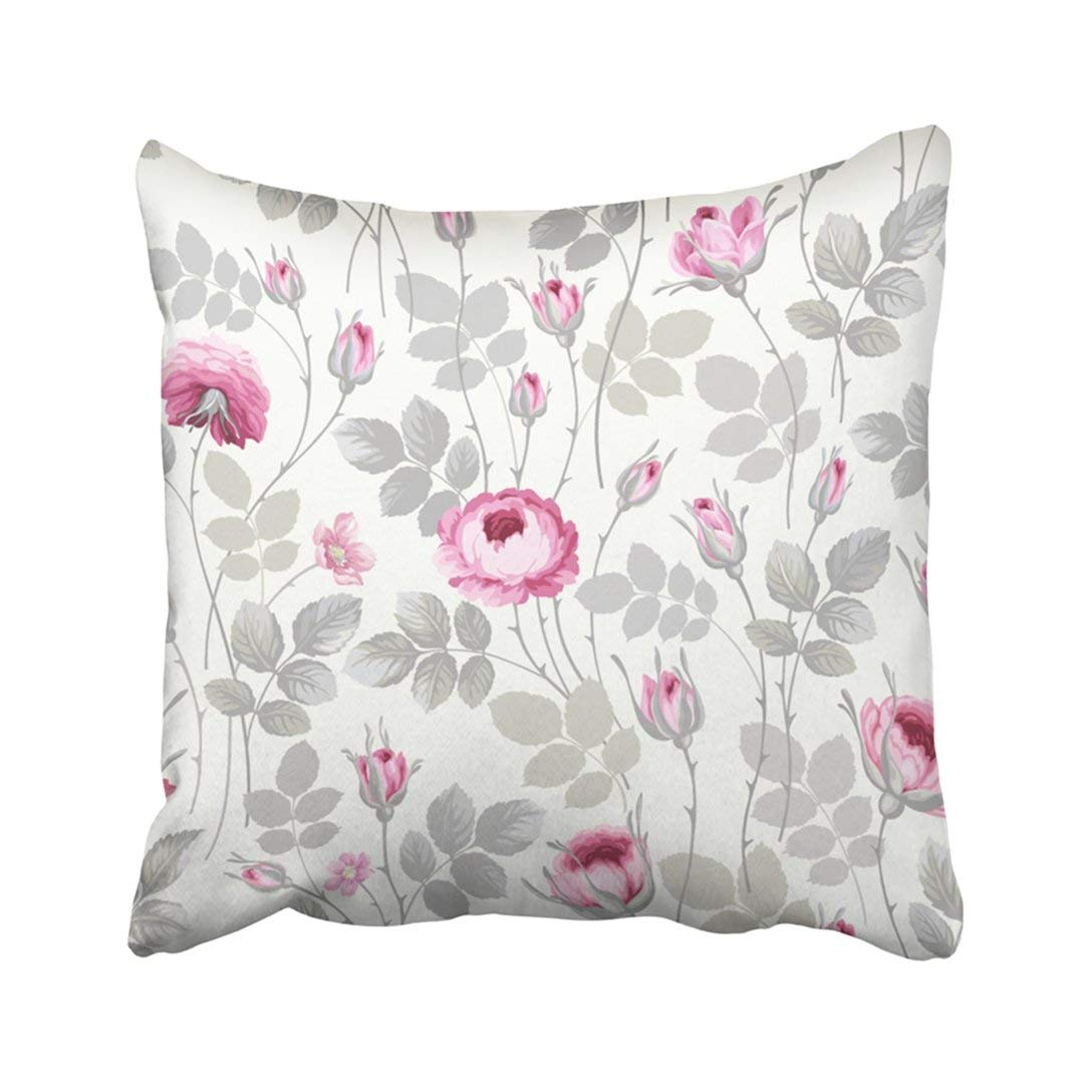WOPOP Colorful Botanical Floral Pattern With Roses In Pastel Colors Green Abstract Blossom Pillowcase Throw Pillow Cover Case 20x20 inches