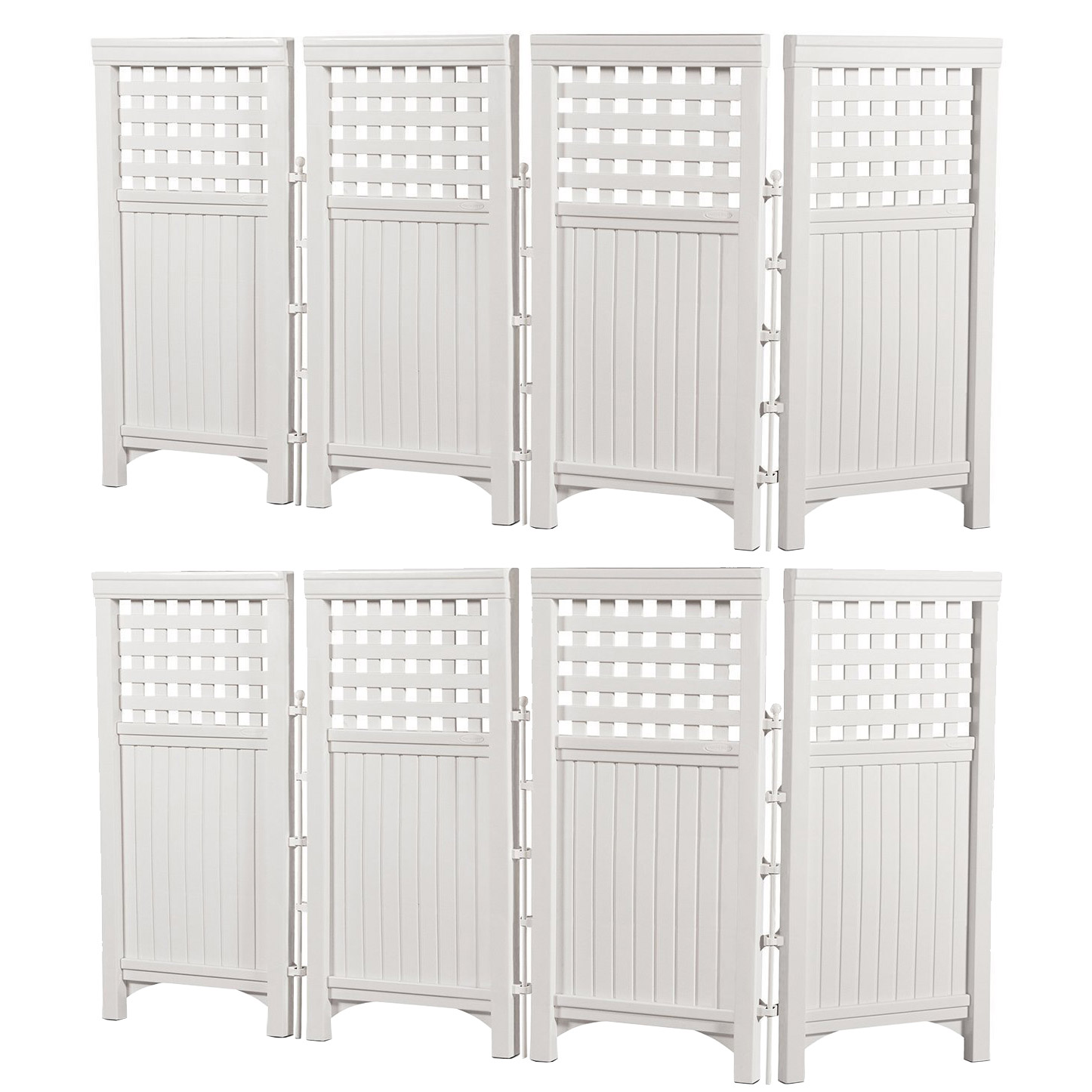 Suncast Outdoor Garden Yard 4 Panel Screen Enclosure Gated Fence, White (2 Pack) by Decorative Fences