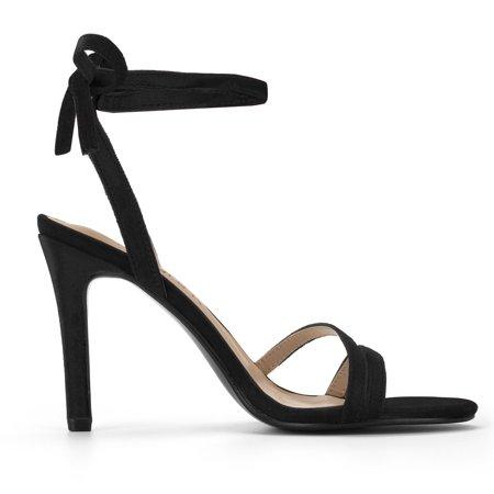 Women's Open Toe High Heel Lace Up Sandals Black US 10 - image 2 de 7