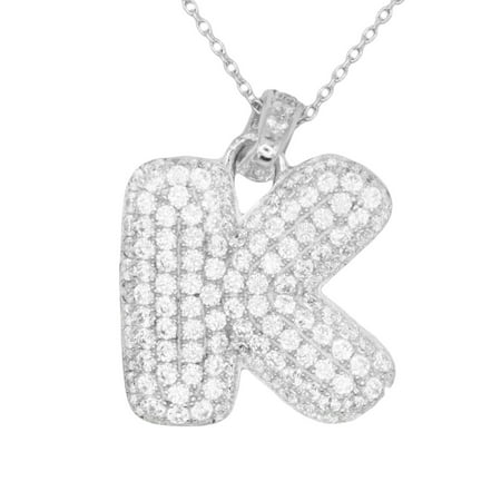 925 Sterling Silver Micro Pave CZ Letter K Initial Personalized Pendant Necklace