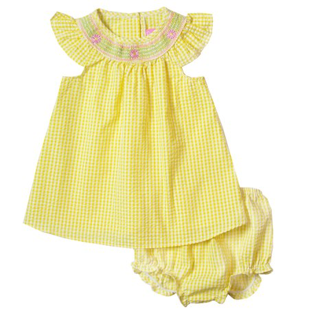 Good Lad Newborn/Infant Girls Yellow Bishop Collar Smocked Bubble with Matching