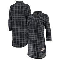 Purdue Boilermakers Women's Best Dressed Plaid V-Neck 3/4-Sleeve Tunic Shirt - Black