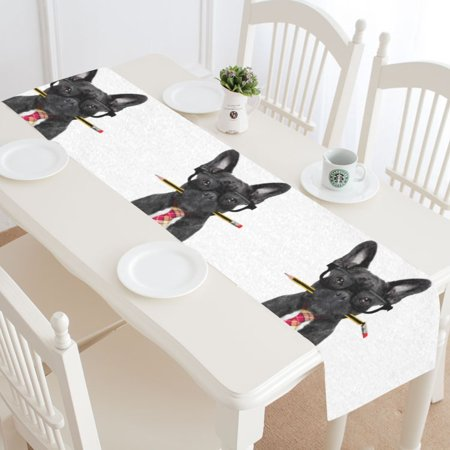 MKHERT Office Businessman French Bulldog Dog Table Runner for Wedding Party Banquet Decoration 14x72 inch - French Table Decorations