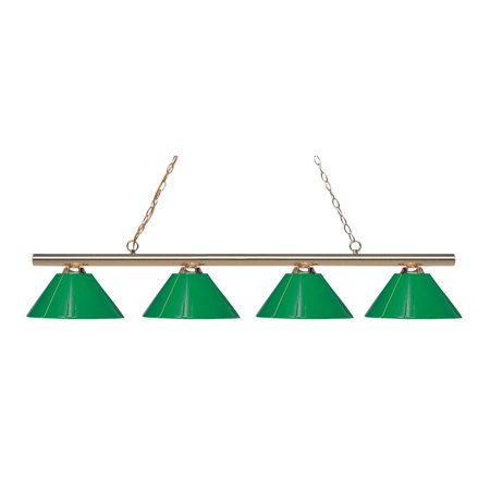 Polished Brass Green (4 Light Island/Billiard, Polished Brass and)