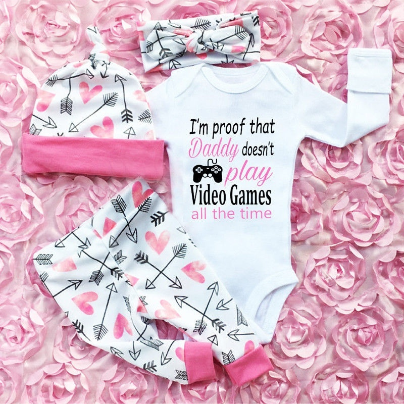 Infant Newborn Outfit Baby Girl Rompers Leggings Playsuit Clothes Bodysuit