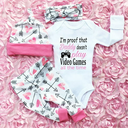 4PCS Newborn Infant Baby Girls Outfit Clothes Romper Bodysuit Jumpsuit+Pants Set