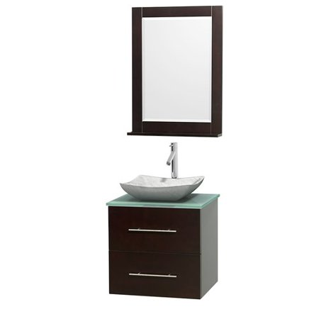 Wyndham Collection Centra 24 inch Single Bathroom Vanity in Espresso, Green Glass Countertop, Avalon White Carrera Marble Sink, and 24 inch (Avalon Mirror)