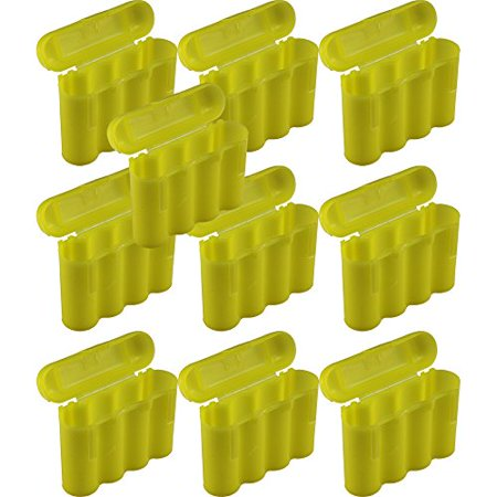 10 Brand New AA / AAA / CR123A Yellow Battery Holder Storage Cases