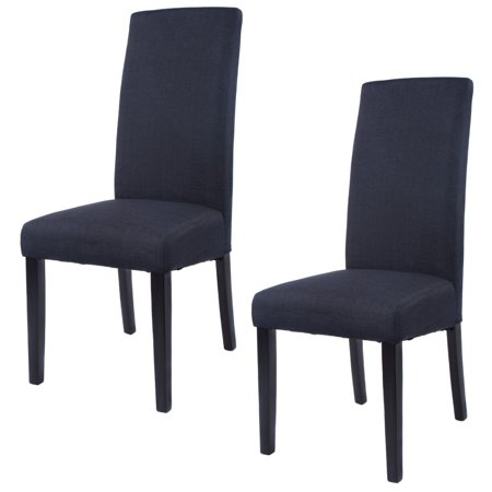 Costway set of 2 fabric dining chair armless accent - Modern upholstered living room chairs ...