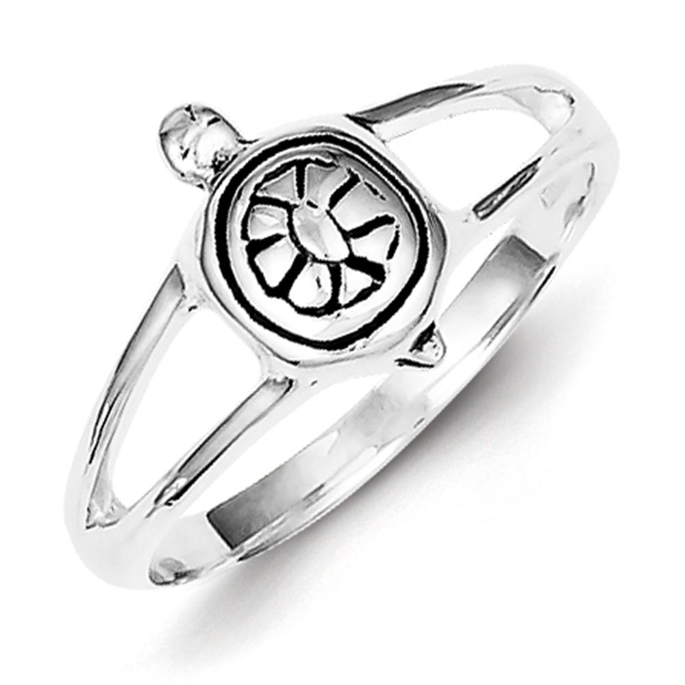 925 Sterling Silver Polished & Antiqued Finish Turtle Ring Size 8