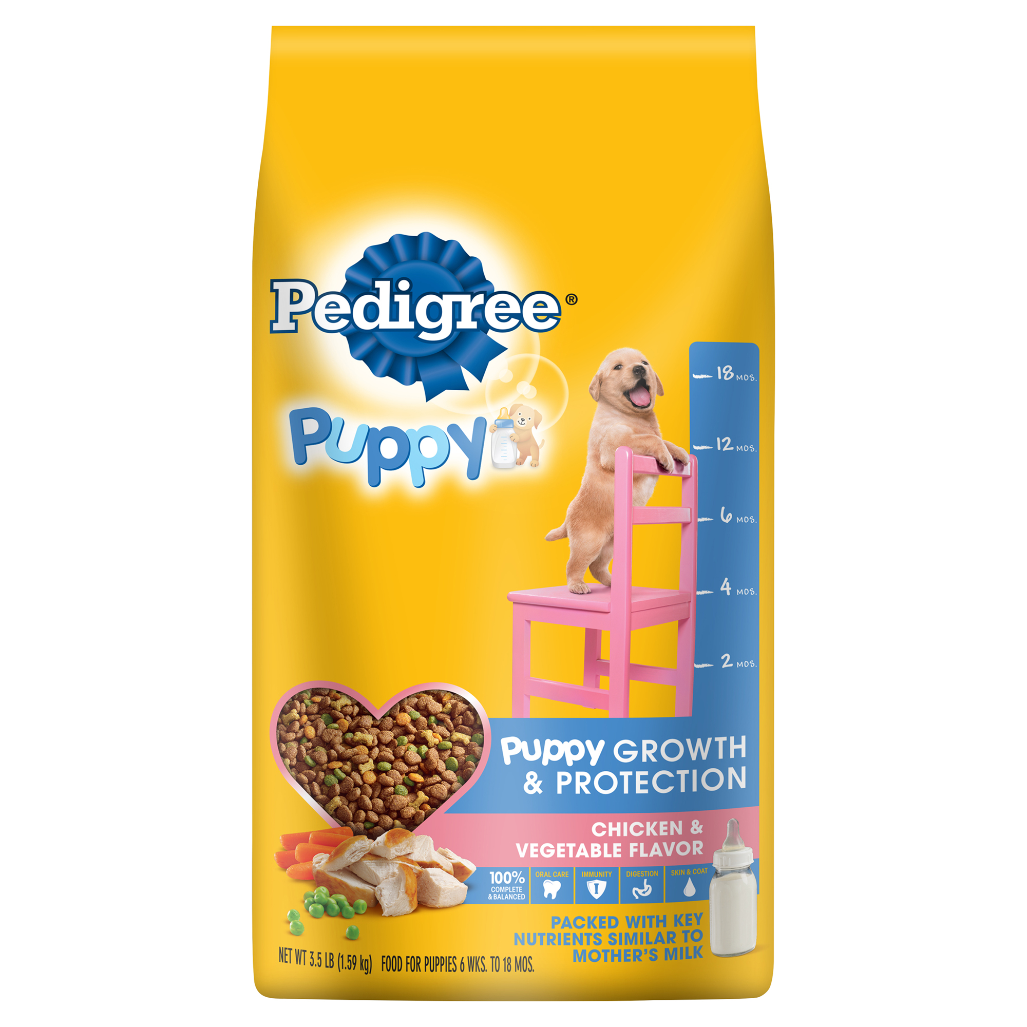 PEDIGREE Puppy Growth and Protection Chicken & Vegetable Flavor Dry  Dog Food 3.5 Pounds