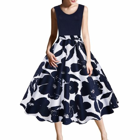 New Arrival Women Fashion Cocktail Party Prom Dress Sleeveless Floral Print Dress