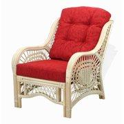 Malibu Lounge Armchair ECO Natural Rattan Wicker Handmade Design with Burgundy Cushion, White Wash