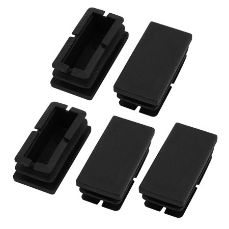 Unique Bargains 5 Pcs Black Plastic Dustproof Cover 40mm x 20mm Square Hole Protector
