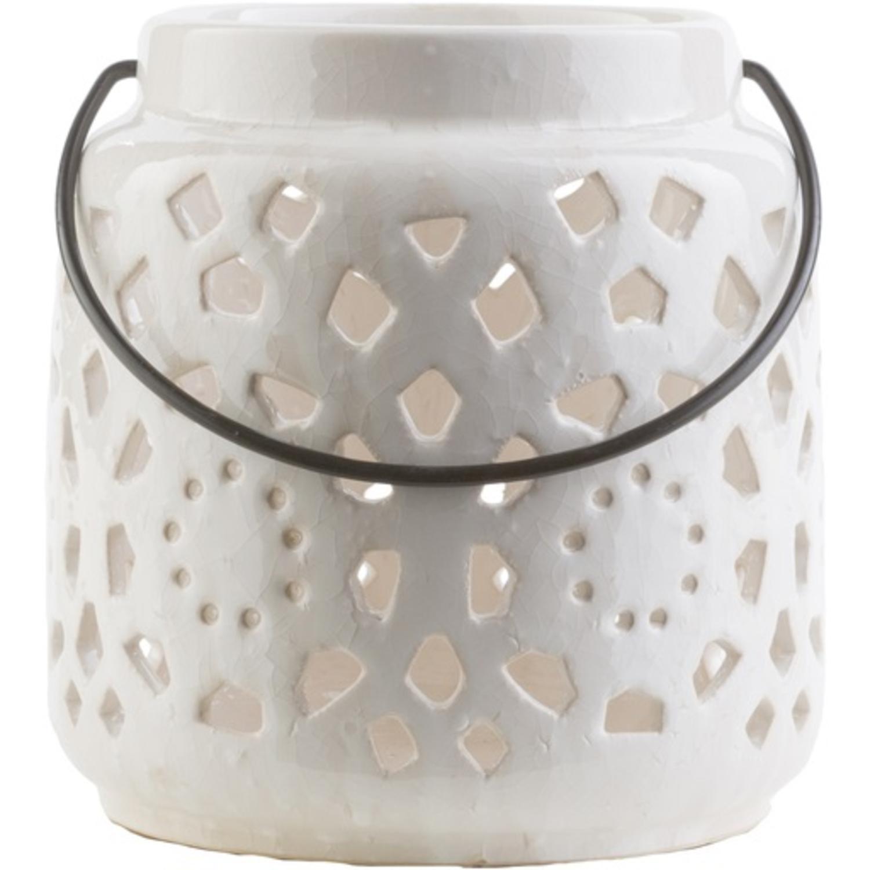 "6.5"" Madison Links Ivory White Ceramic Small Pillar Candle Holder Lantern"
