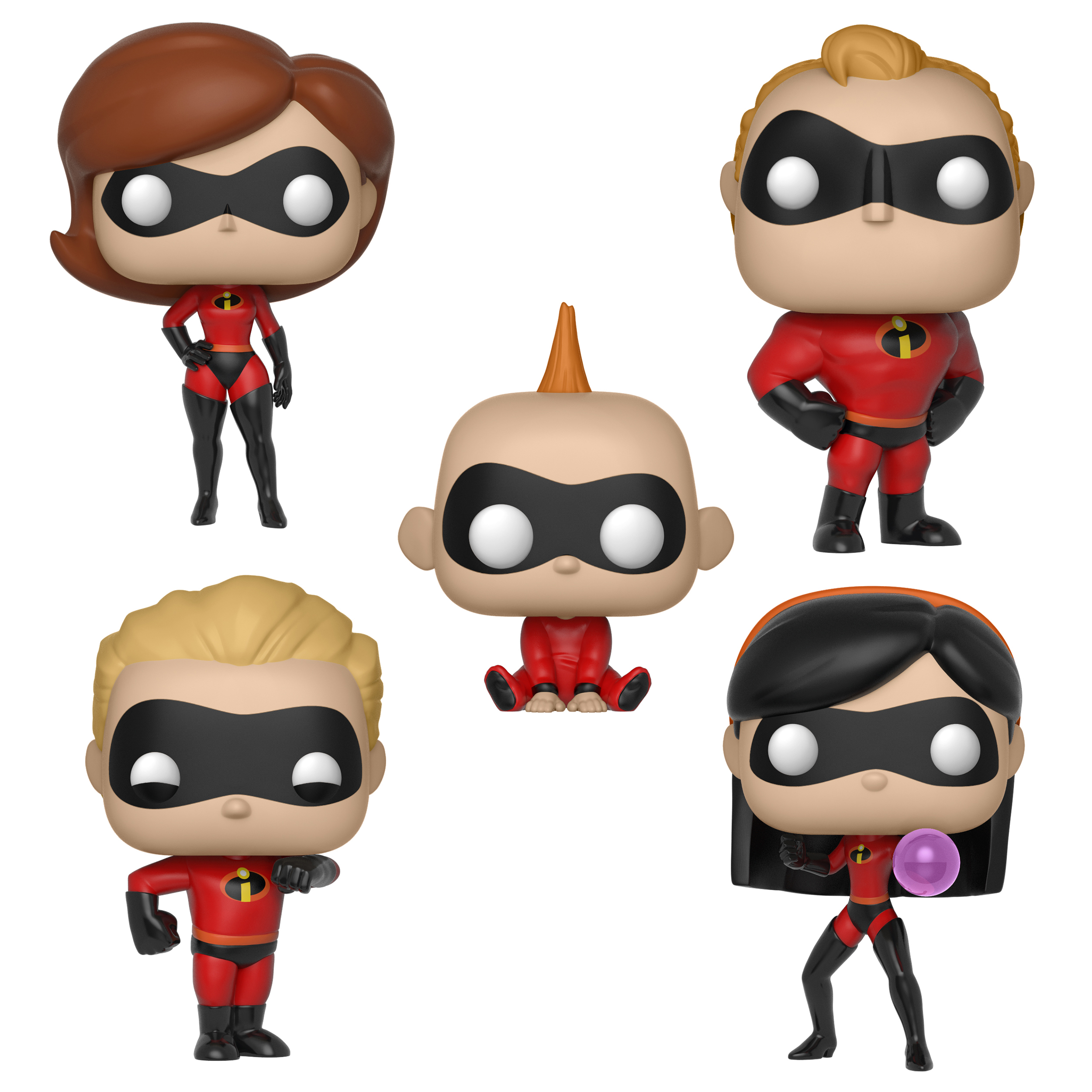 Funko POP! Disney Incredibles Series 2 Collectors Set; Elasticgirl, Mr. Incredible, Dash, Jack-Jack, & Violet (Possible Limited Chase Edition)