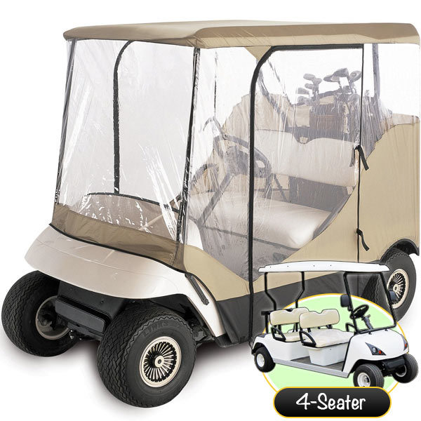 WATERPROOF SUPERIOR BEIGE AND TRANSPARENT GOLF CART COVER COVERS ENCLOSURE CLUB CAR, EZGO, YAMAHA, FITS MOST FOUR-PERSON GOLF CARTS