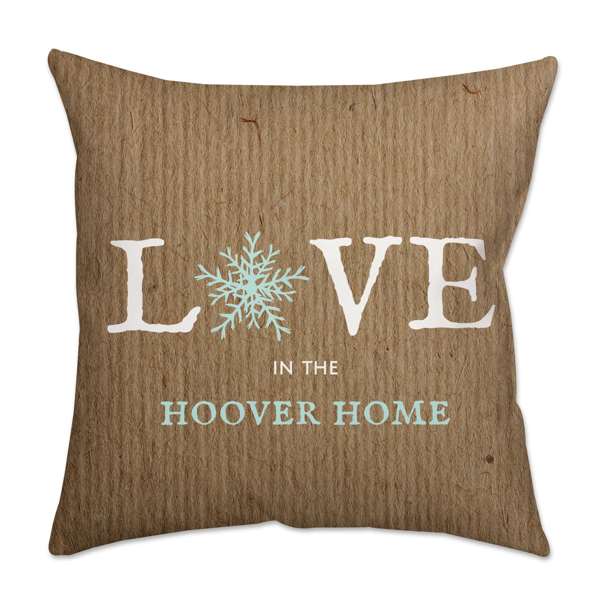 Personalized Snowflake Poplin Square Throw Pillow in Burlap