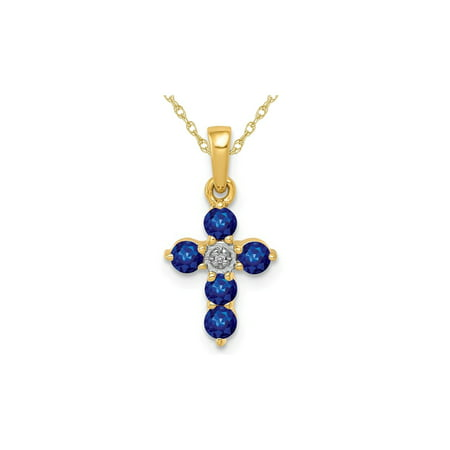 2/5 Carat Natural Blue Sapphire Cross Pendant Necklace in 14K Gold with Chain