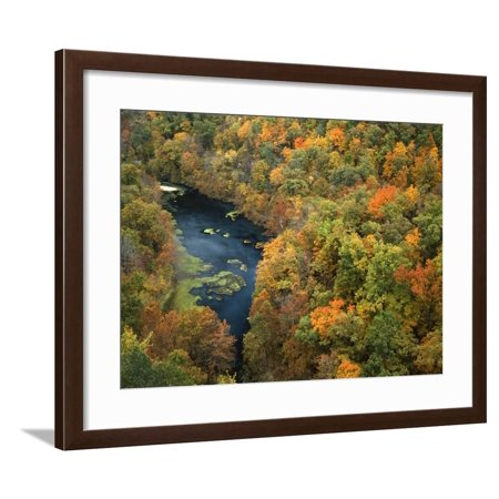 Fall forest and Ha Ha Tonka Spring, Ha Ha Tonka State Park, Missouri, USA Framed Print Wall Art By Charles