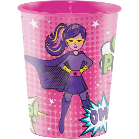 Club Pack of 12 Vibrant Colors Girl Superhero Themed Keepsake Cups -