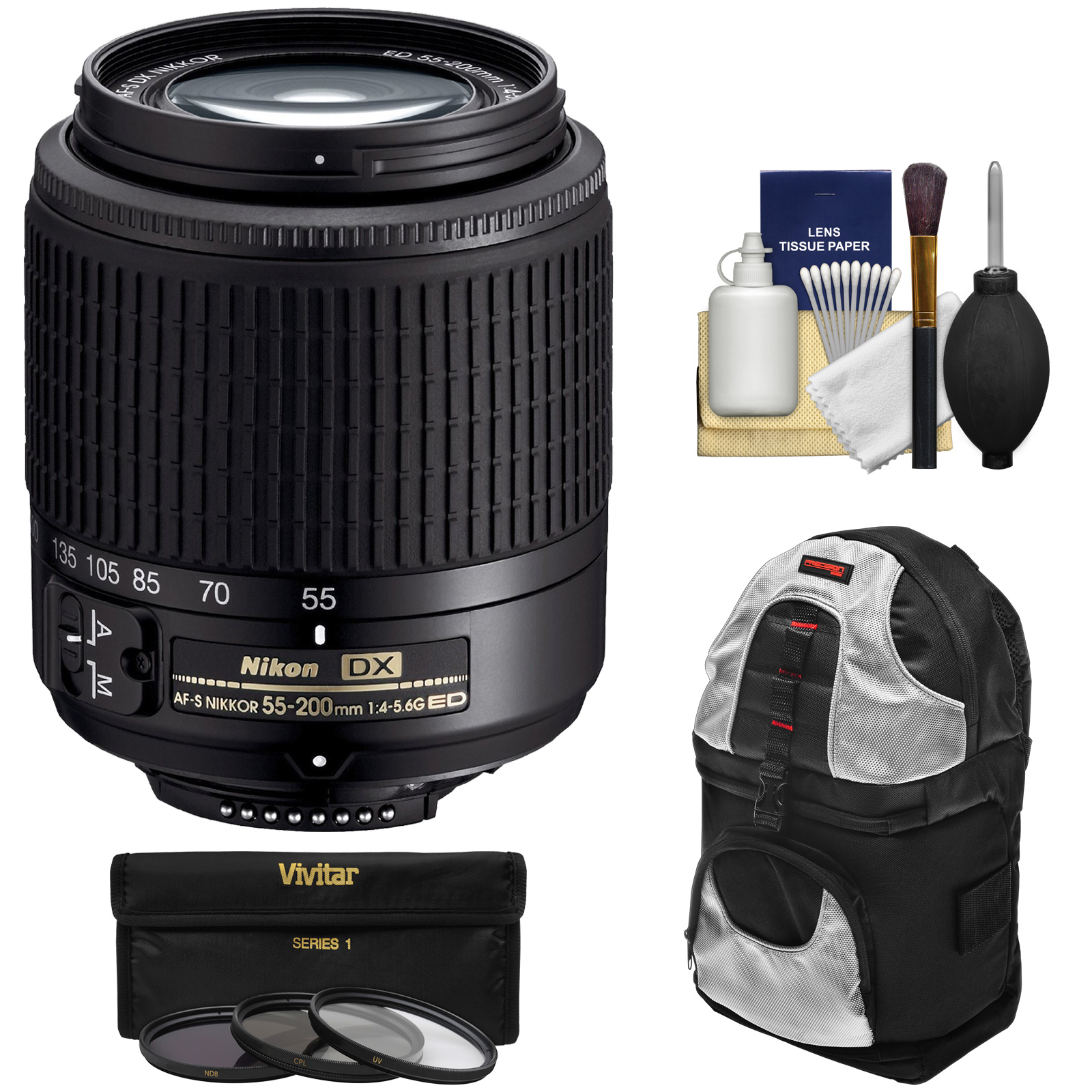 Nikon 55-200mm f/4-5.6G DX AF-S ED Zoom-Nikkor Lens with 3 UV/CPL/ND8 Filters + Backpack + Kit