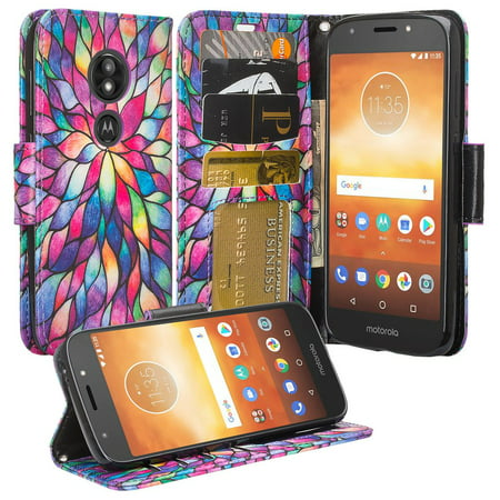 Moto G6 Play Case, Moto G6 Forge Case,Moto E5 case, Cute Girls Women Pu Leather Wallet Case with ID Slot & Kickstand Phone Case for Motorola Moto G6 Play - (Rainbow Flower) - image 6 of 6