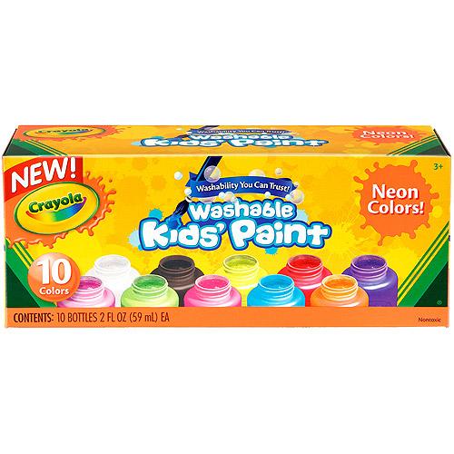 Crayola Washable Neon Paint, 10-Pack