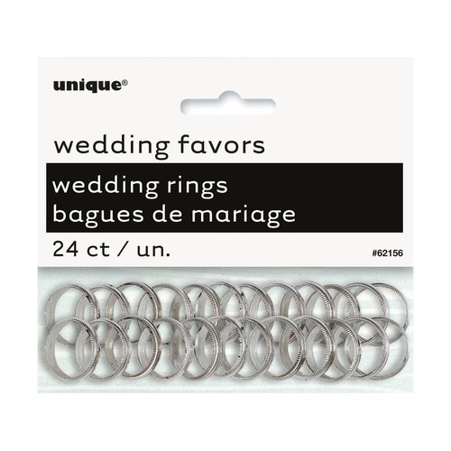 Silver Wedding Ring Favor Charms, 24-Count