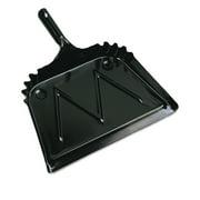 "Metal Dust Pan, 12"" Wide, 2"" Handle, Black, 12 Carton by BOARDWALK"