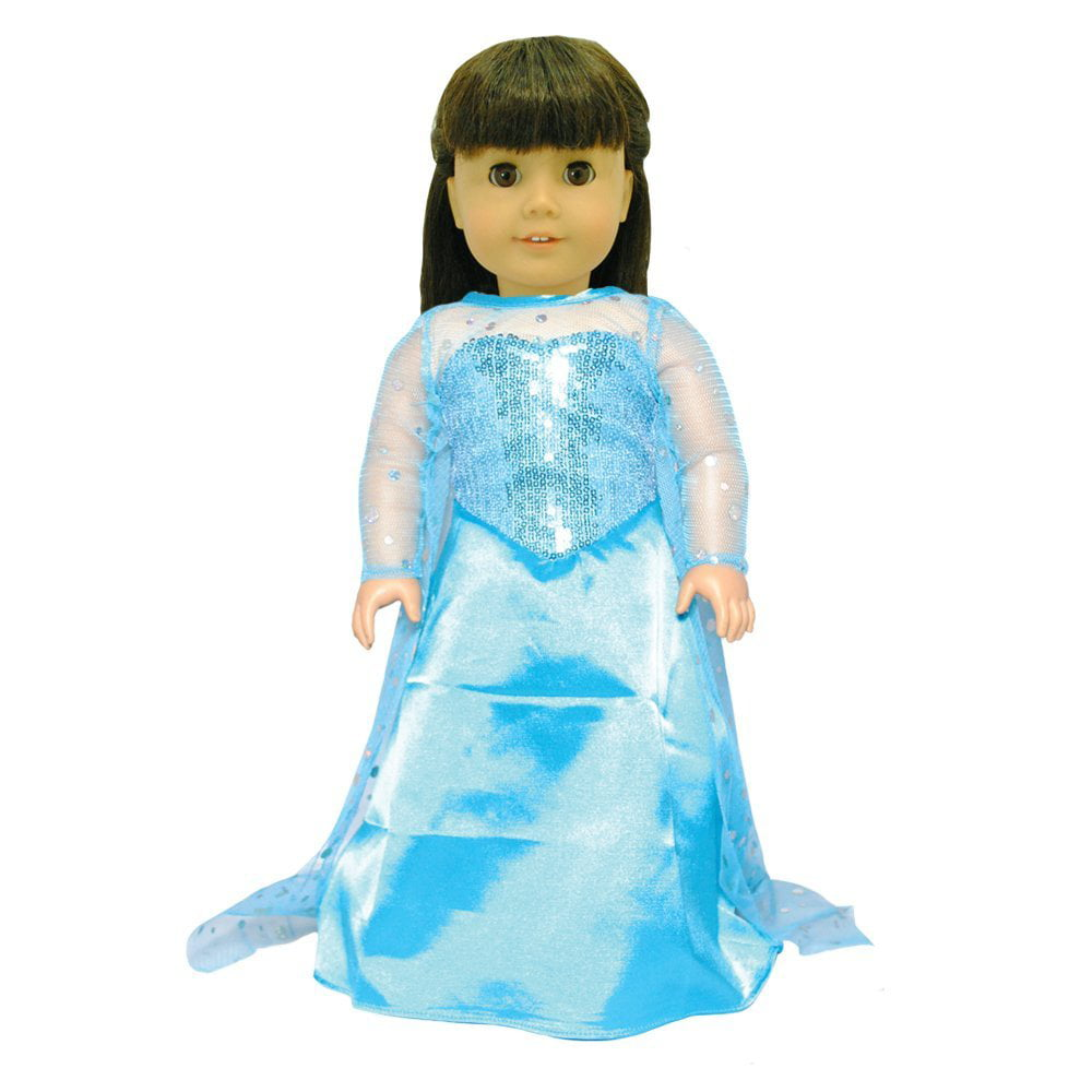 Doll Clothes Queen Elsa Dress Outfit Fits American Girl & Other 18 Inch Dolls by Pink Butterfly Closet