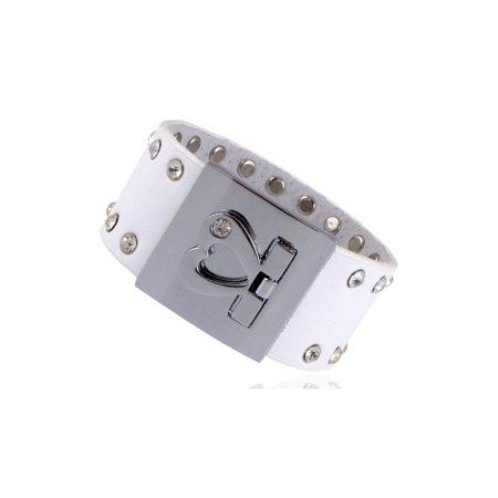 Heart Buckle Crystal Rhinestone Stud Rockstar Leather Wrist Cuff Band - Rockstar Jewelry