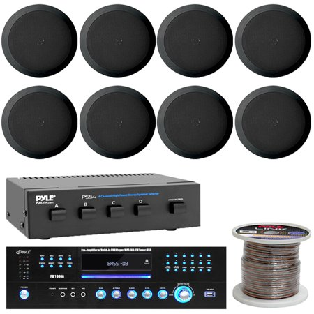 Pyle PD1000A Home Theater Preamplifier Receiver 1000 Watt, 4 Ch. Speaker Selector 16 Gauge 100 ft. Spool of High Quality Speaker