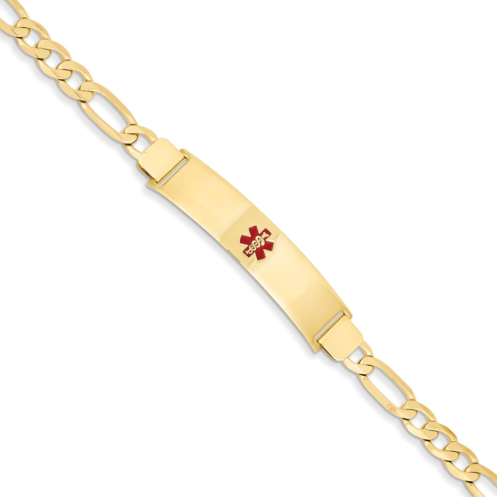 14k Yellow Gold Engravable 7in Stamped Medical Jewelry ID Bracelet (Plate: 1.5in x 0.4in)