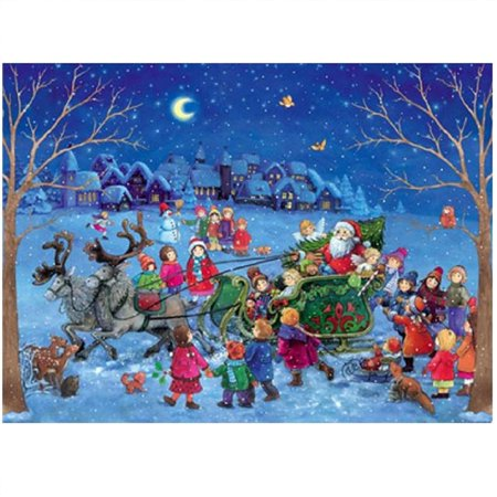 - Sleighing with Santa Claus Children in the Snow German Christmas Advent Calendar